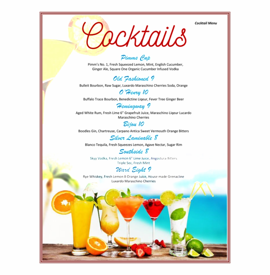 Cocktail Drinks Menu Template Free 21 - Cocktail Menu Template With Regard To Cocktail Menu Template Word Free