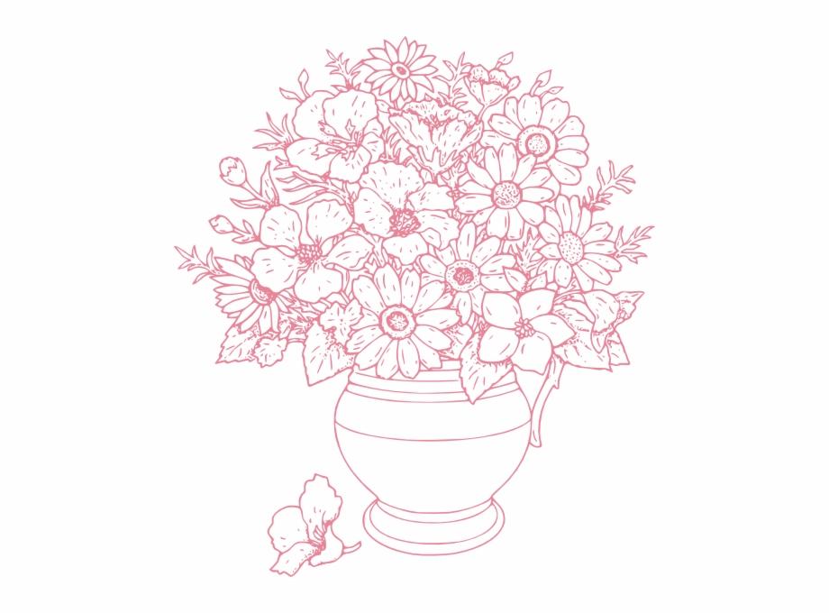 Adult Coloring Pages Flower Vase | Transparent PNG Download ...