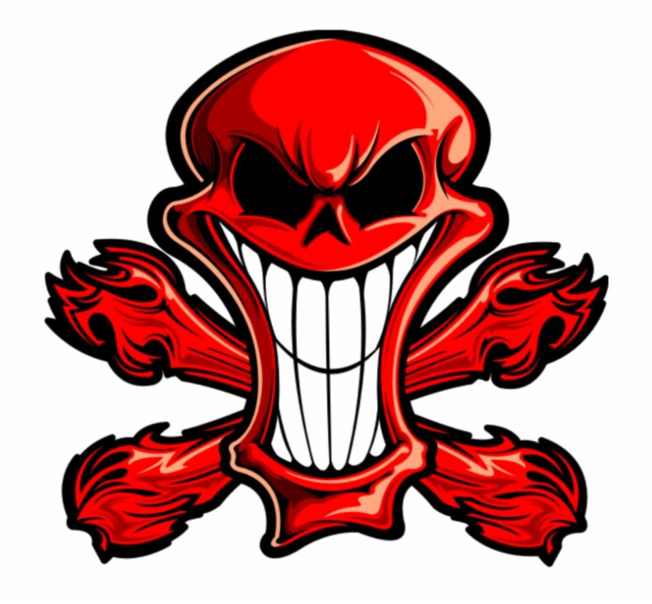 Mq Red Skull Bones Devil Logo Tete De Mort
