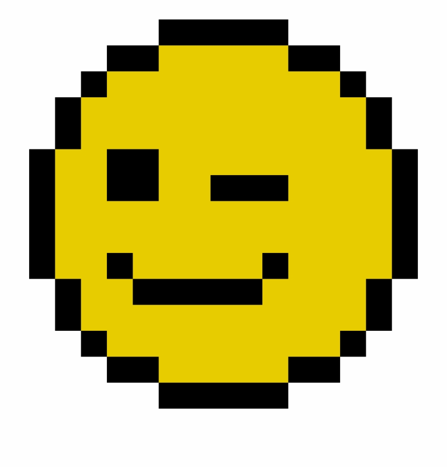 Winky Face Pixel Art Smiley Emoji Transparent Png