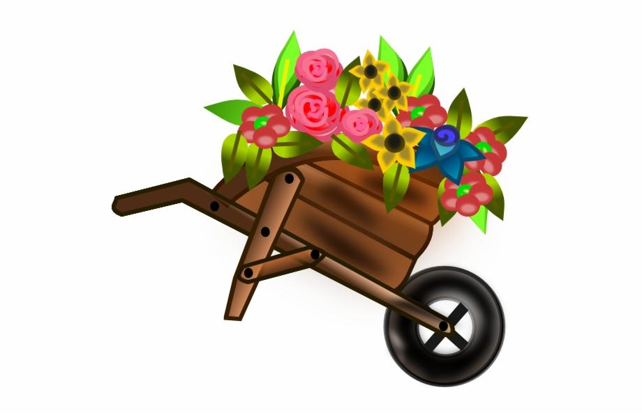 flores vector png - Flower Wheelbarrel Clip Art Free Svg Vector -  Wheelbarrow With Flowers Clipart | #1379857 - Vippng