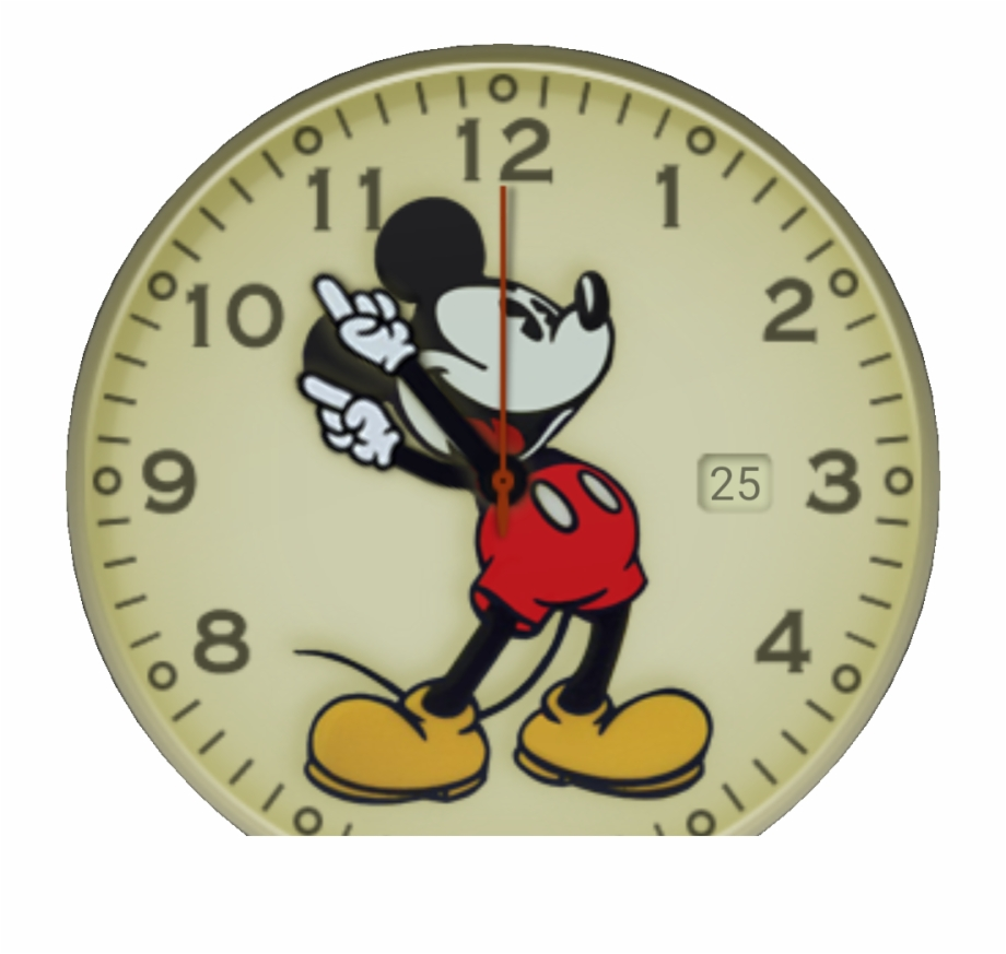 An Old Style Mickey Mouse Watchface   Transparent PNG Download #1381647 -  Vippng