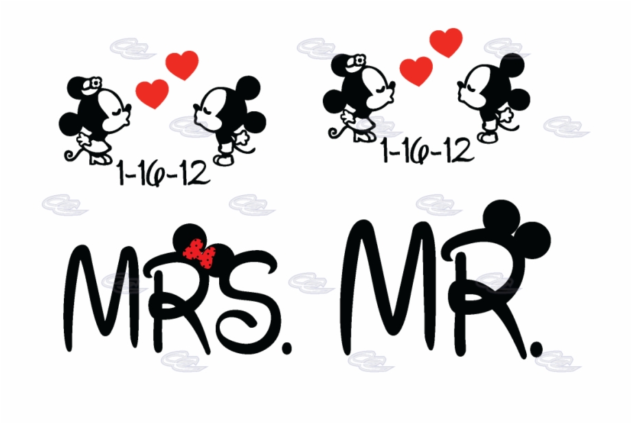 Mr Mrs Little Mickey Minnie Mouse Kiss With Wedding Transparent