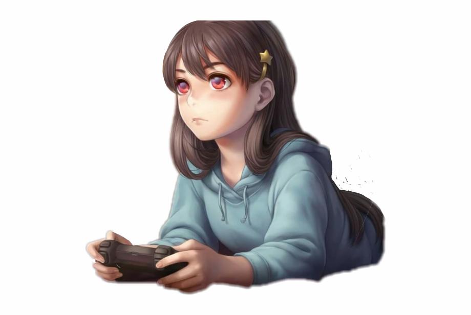 Girl gamer kawaii anime 3D asset