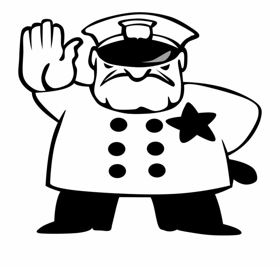 Cop Cartoon Police Black And White Transparent Png Download 1443671 Vippng