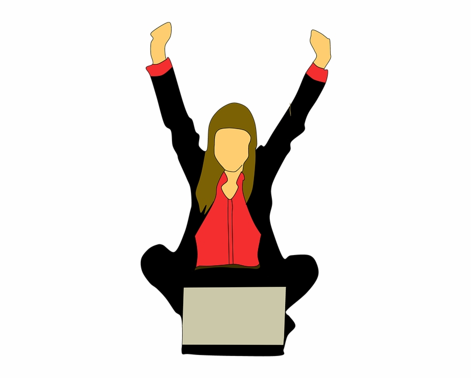 Woman Business Laptop Working Happy News Achieve - Importancia Del ...