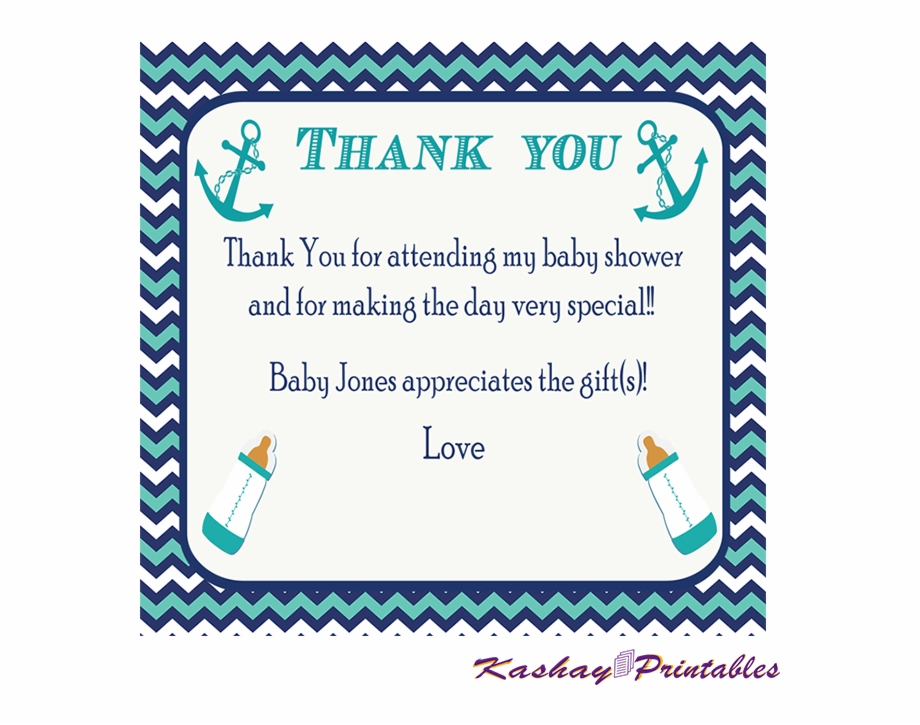 Nautical Baby Shower Thank You Card Baby Shower Thank You Cards Templates Transparent Png Download 1749816 Vippng