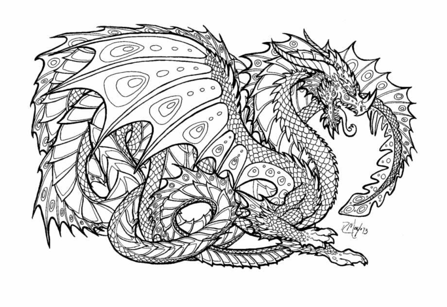 - Dragon Coloring Pages For Adults To Download And Print - Hard Colouring  Pages For Boys Transparent PNG Download #1787113 - Vippng