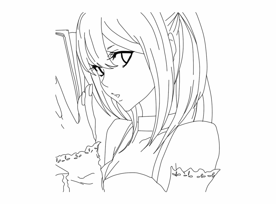 Death Anime Coloring Page Printable Death Anime Coloring Misa Amane Line Art Transparent Png Download 197319 Vippng