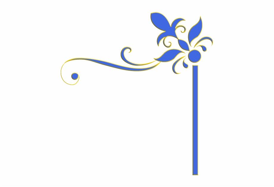 Decoration Border Edge Frame Blue Yellow Flowers