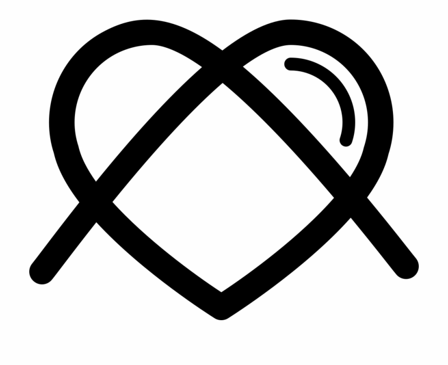 Heart Shaped Outline With Cross Lines Comments - Circle