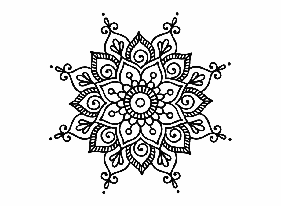 Cricut Ideas Mandala Dots The Dot Mandalas Coloring Simple Mandala Flower Design Transparent Png Download 2135773 Vippng,Easy Black And White Simple Flower Design