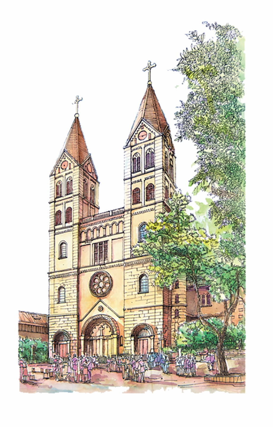 Catholic Drawing Parish Church Catholic Church Water Color