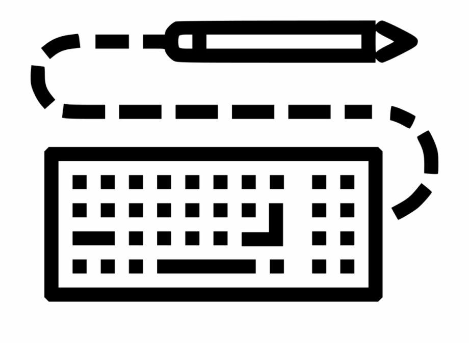 Black And White Library Pen Keyboard Write Design Sketch Keyboard Drawing Png Transparent Png Download 2234484 Vippng