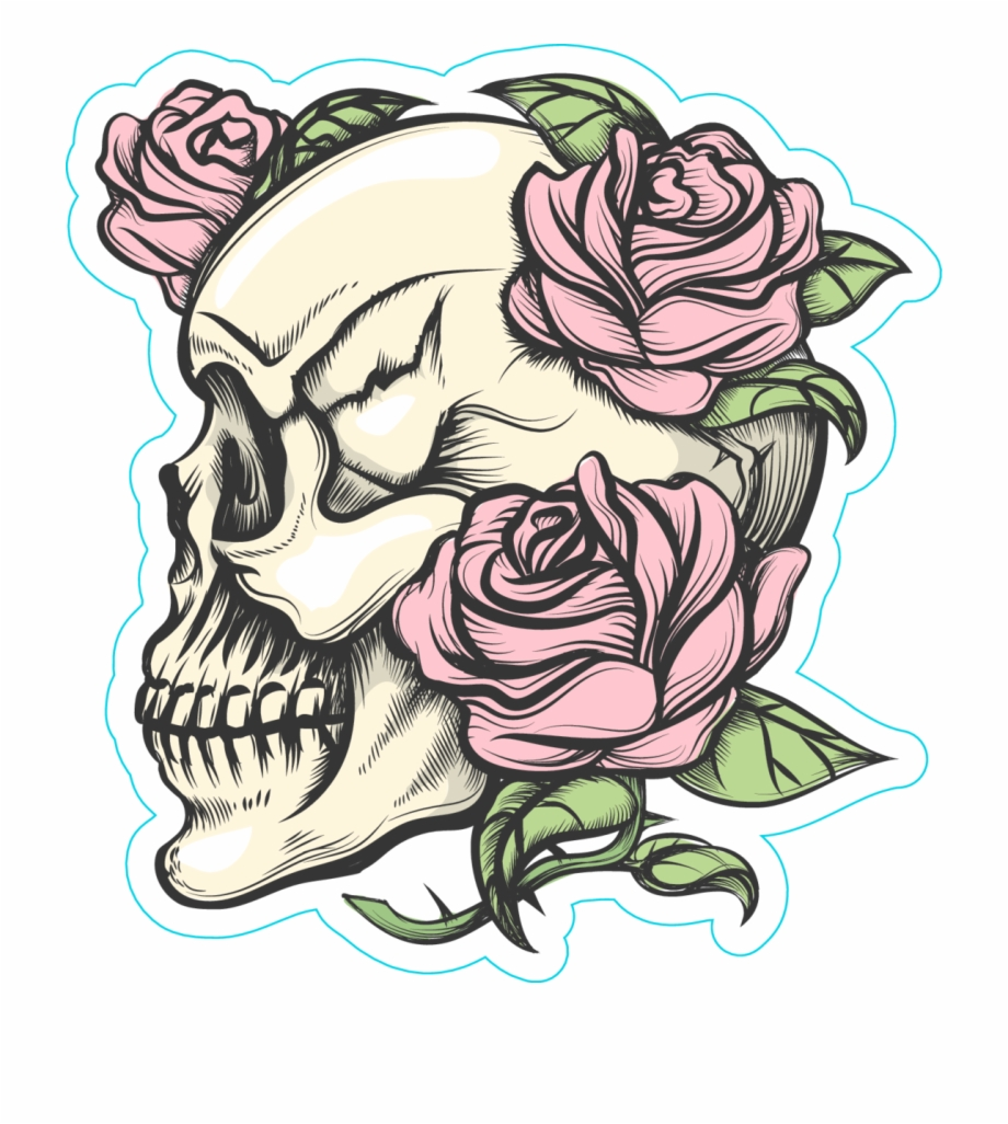 Human Skull With Roses Tattoo Style Sticker Skulls And Roses Drawings Transparent Png Download 2257700 Vippng