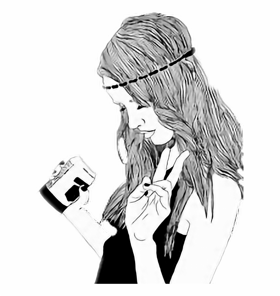 Chicas Tumblr Png - Hipster Girl Black And White Drawing ...