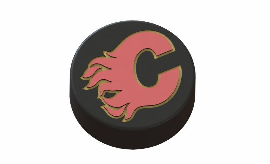 3d Printed Calgary Flames Logo On Hockey Puck By Rysard 3d Hockey Puck Calgary Flames Transparent Png Download 2314519 Vippng