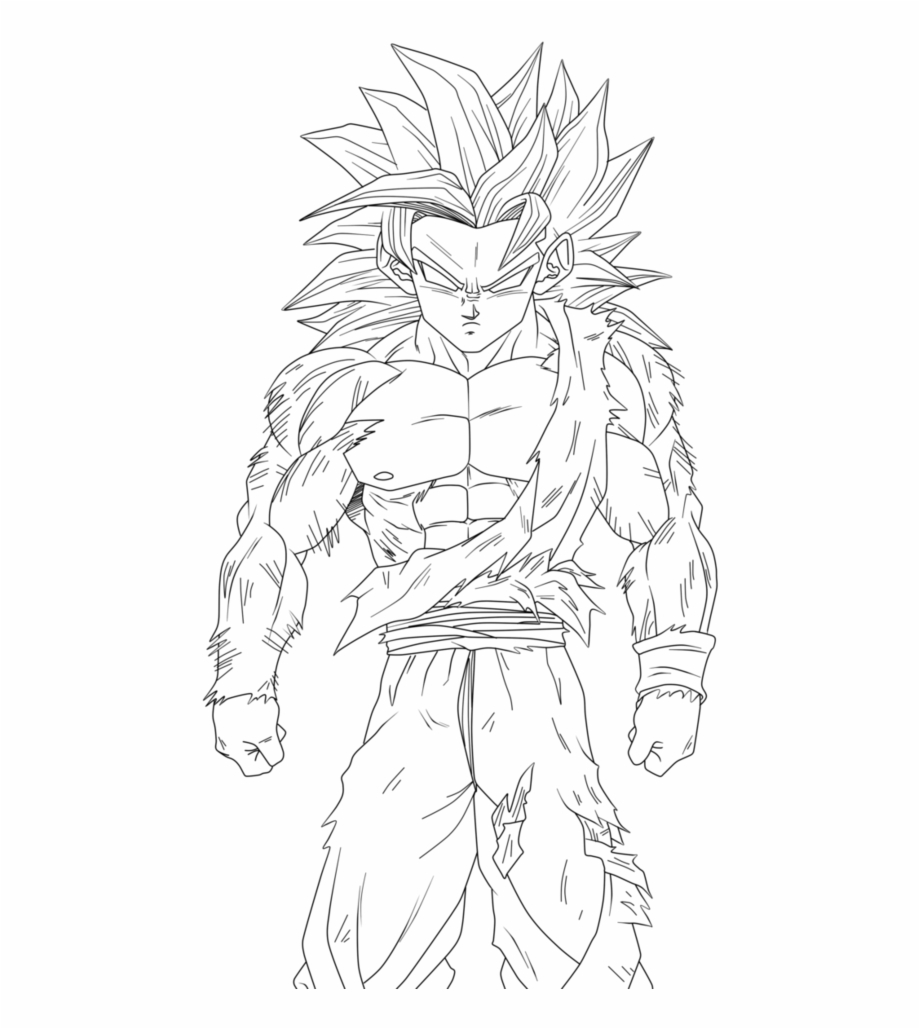 Dragon Ball Z Coloring Pages Goku Super Saiyan 4 With