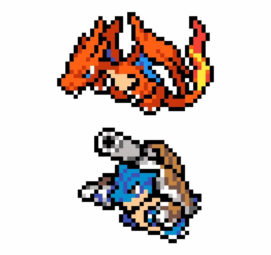 Mega Charizard And Blastoise Pixel Art Pokemon Mega