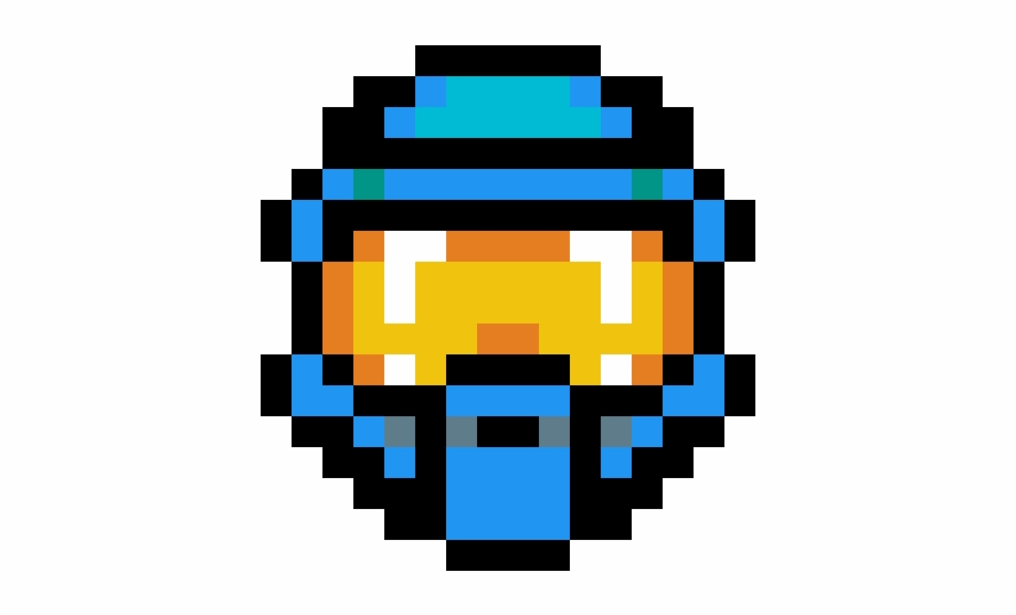 Halo Spartan Mask Blue Master Chief Helmet Pixel Art