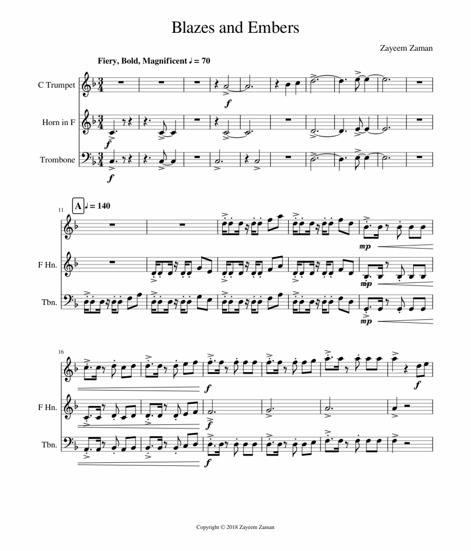 Blazes And Embers Sheet Music For Trumpet French Horn Sheet Music Transparent Png Download 2456986 Vippng