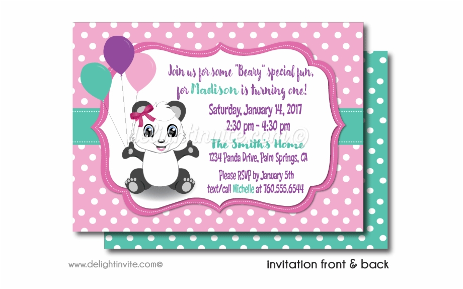 Fabulous Girls Panda 1St Birthday Invitations Panda Invitations Birthday Funny Birthday Cards Online Inifofree Goldxyz