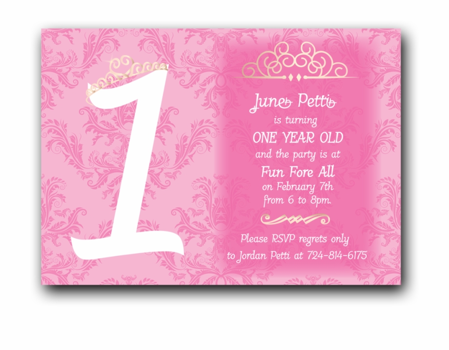 Princess First Birthday Invitation Greeting Card