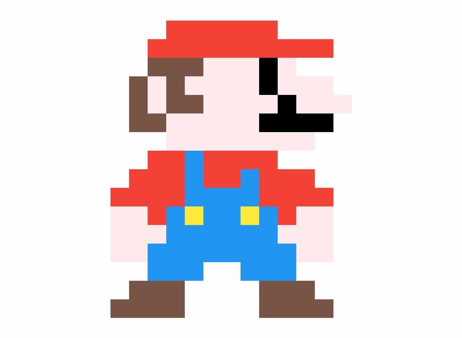 Mario Pixel Art Mario Sprite 8bit Grid Transparent Png