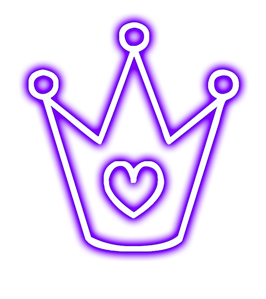 Crown Glowing Heart Snapchat Neon Purple Picsart Neon Glowing Png Transparent Png Download 2756808 Vippng