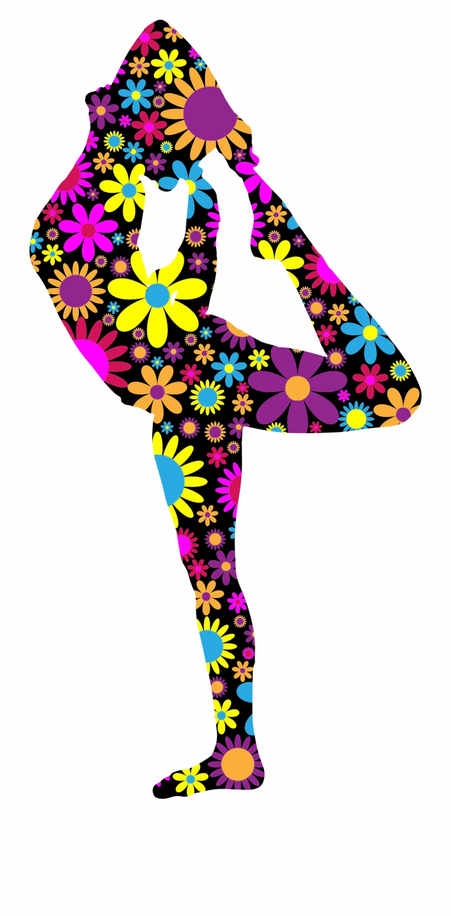 Floral Female Pose Silhouette Big Image Png Yoga Poses Graphics Transparent Png Download 2790228 Vippng