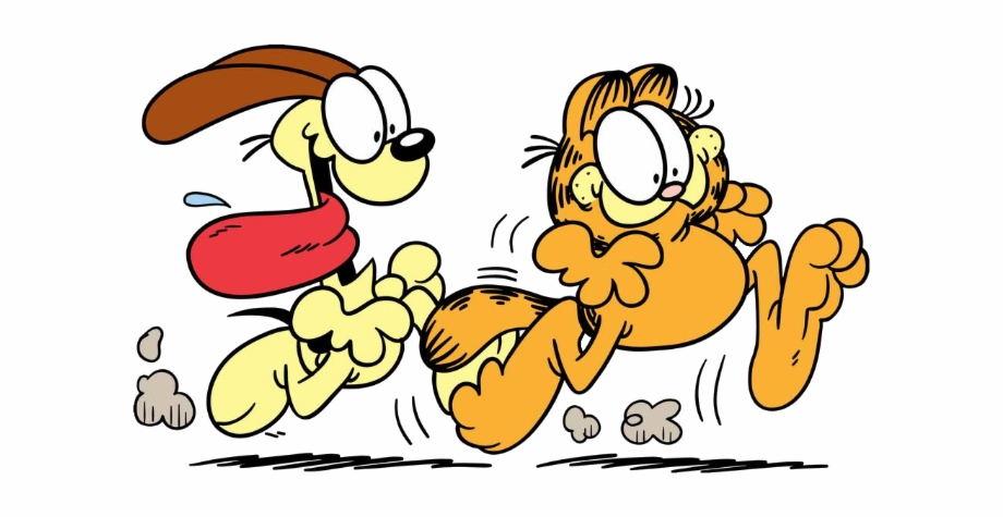 Garfield Odie Running Garfieldandfriends Hundreds Garfield Chase T Shirt Transparent Png Download 281222 Vippng