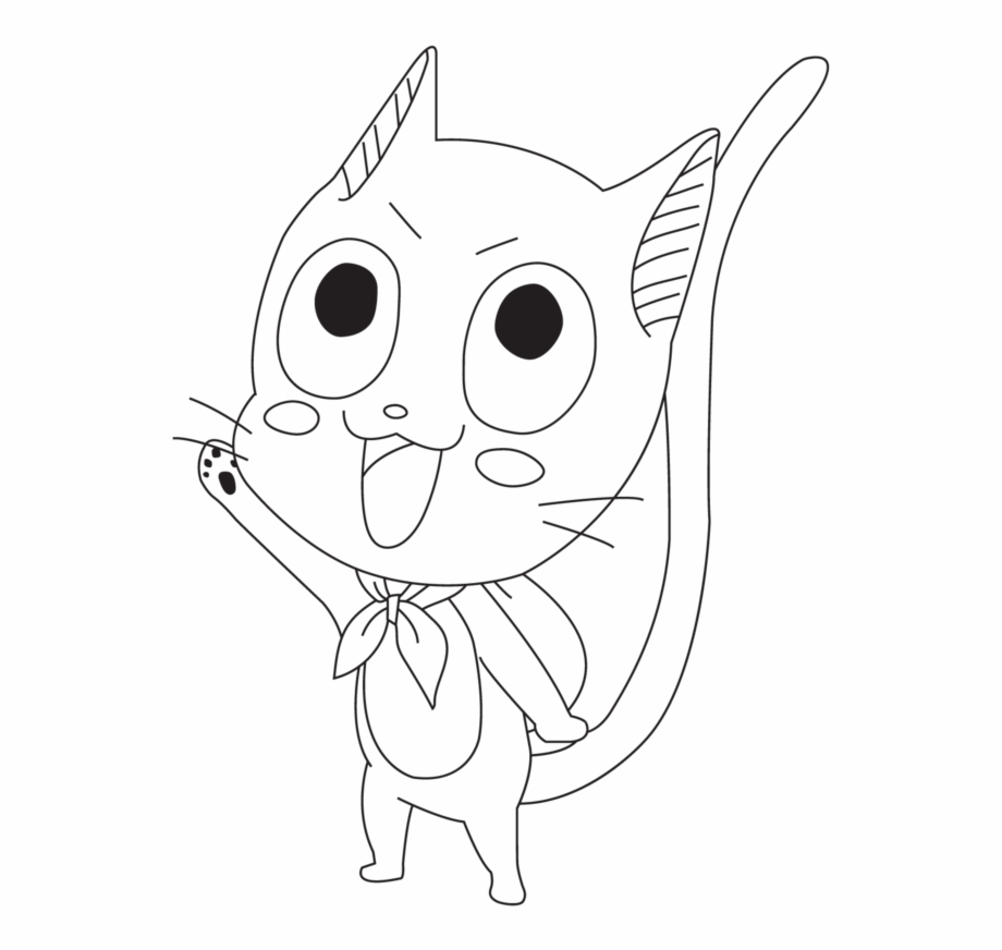 Fairy Tail Lineart Happy   Cartoon   Transparent PNG Download ...