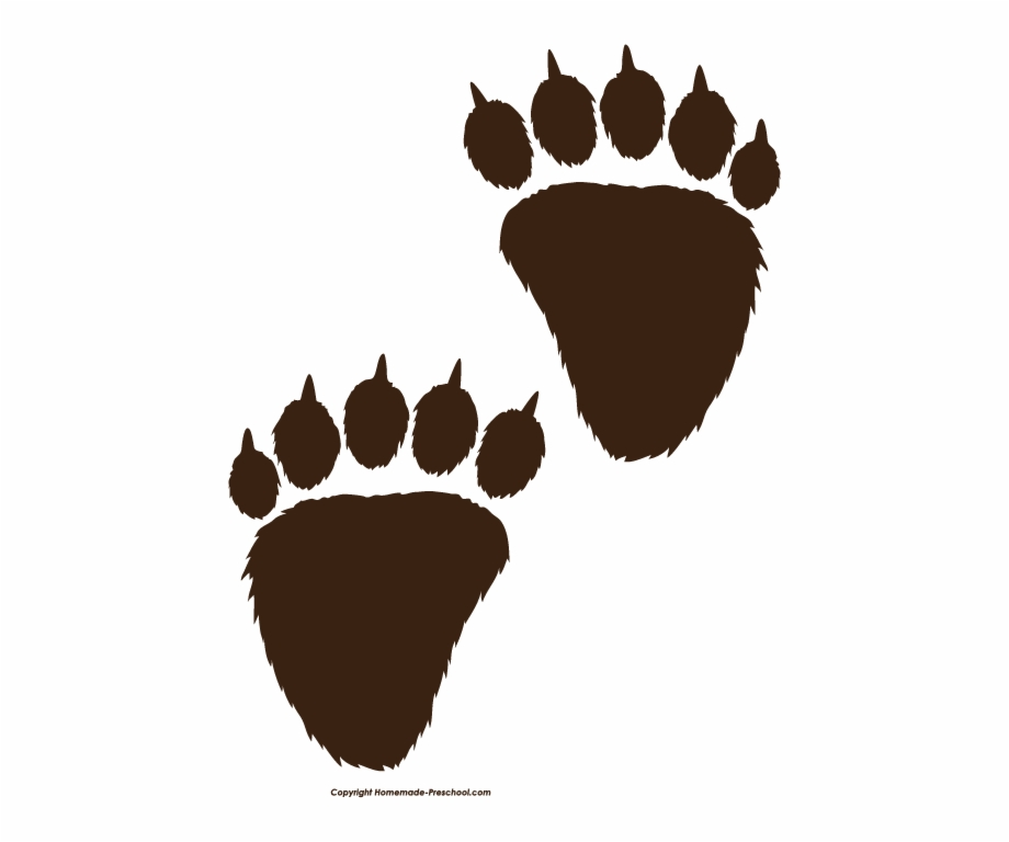 Bear Paw Print Black Clipart Pencil And In Png - Bear Paw