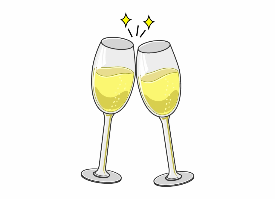 Cartoon Champagne Glasses Toasting