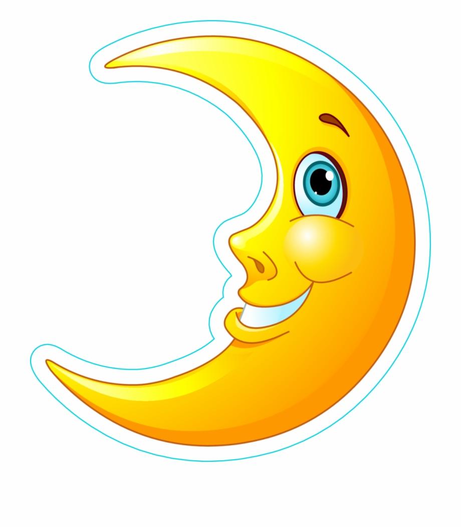 Friendly Moon Sticker - Cartoon Moon Clipart | Transparent ... (920 x 1053 Pixel)