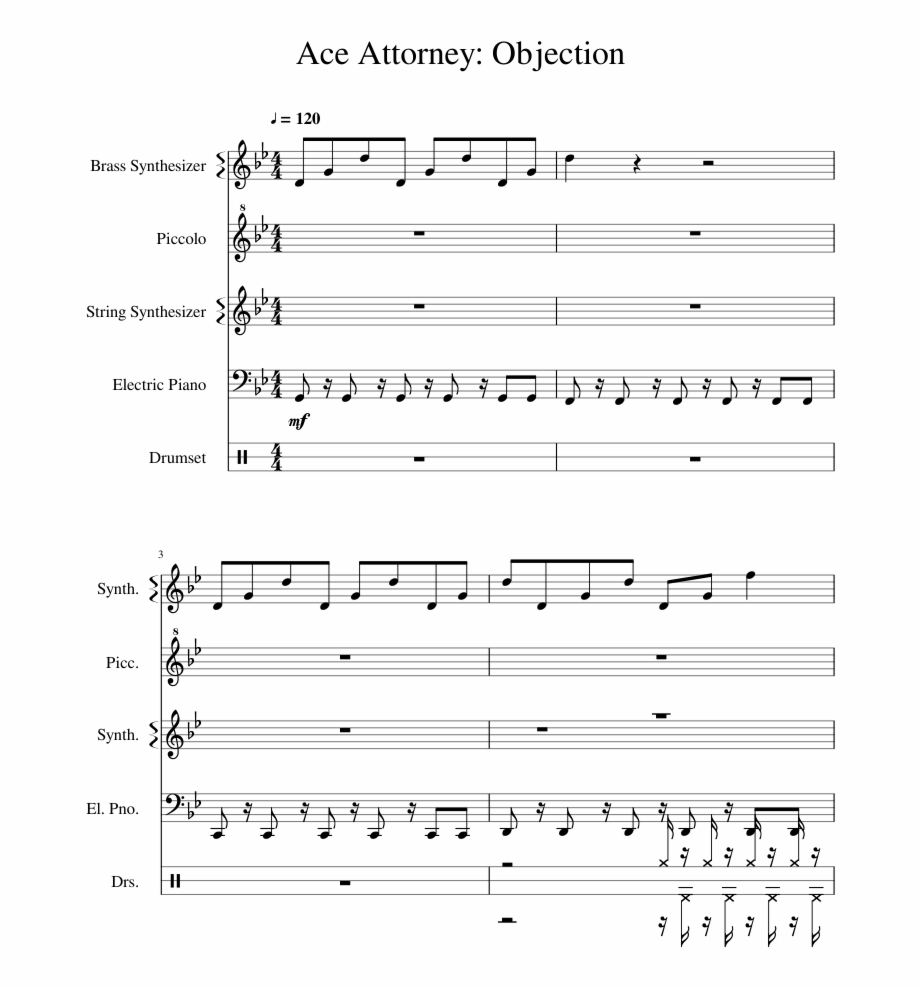 Print Objection Phoenix Wright Flute Sheet Music Transparent