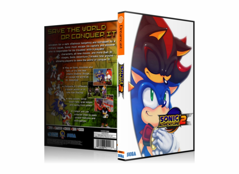 Sonic Adventure 2 Box Art Cover Sonic Adventure Sex Transparent Png Download 3147335 Vippng