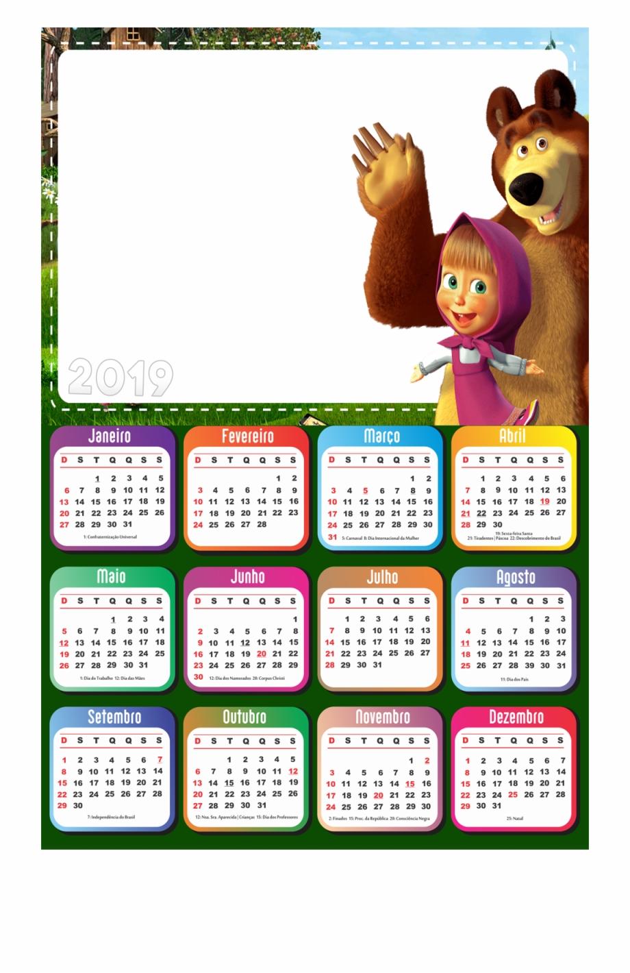 Calendario 2019 Masha E O Urso Desenho Transparent Png Download