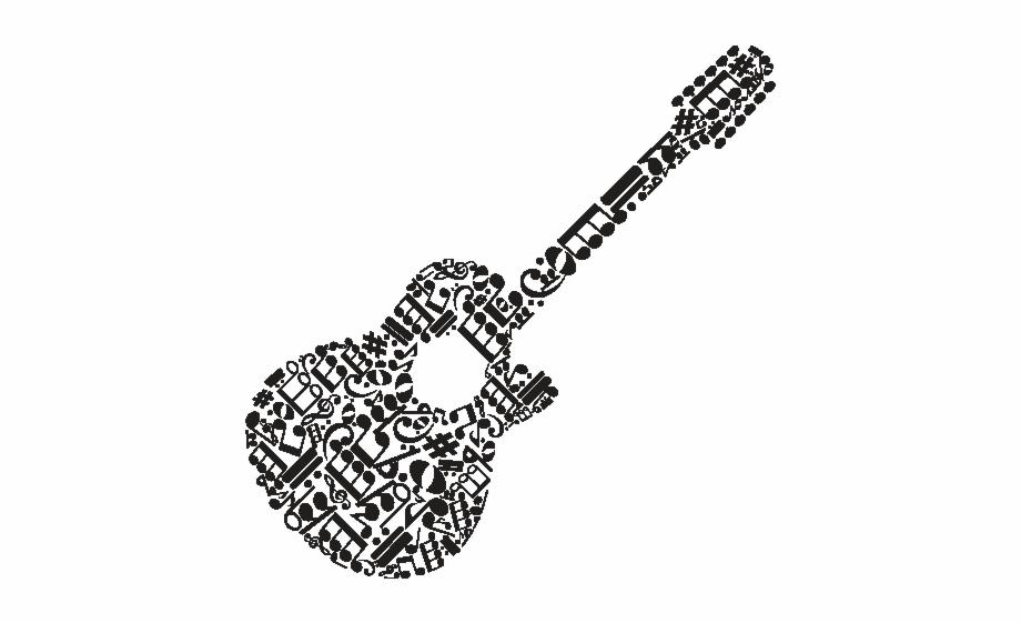 Desenho De Violao Com Notas Musicais Transparent Png Download