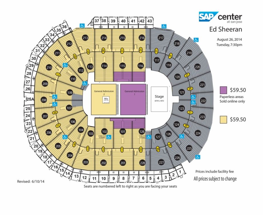 Ed Sheeran Seat Number Sap Center Seating Chart Transparent Png Download 3208175 Vippng