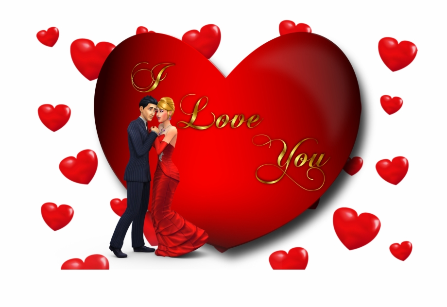 Valentines Day Cartoon Couple Desktop Hd Wallpapers Love You Red
