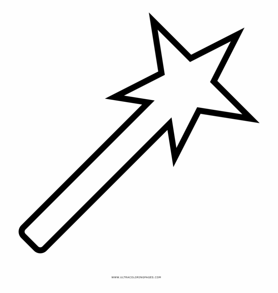 Magic Wand Coloring Page - Transparent Shooting Star ...