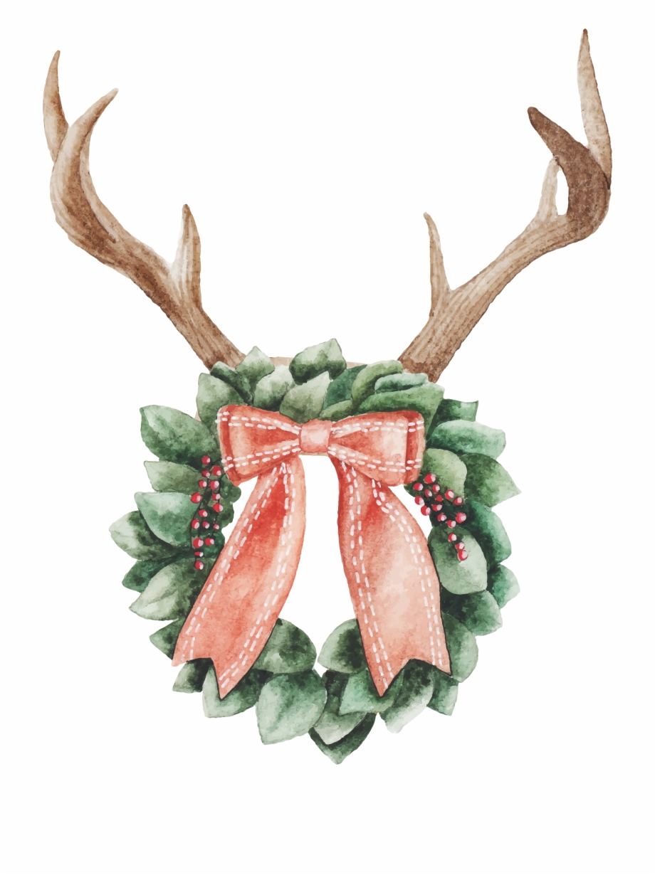 Watercolor Christmas Wreath Png.Christmas Watercolor Clipart Png Transparent Png Download