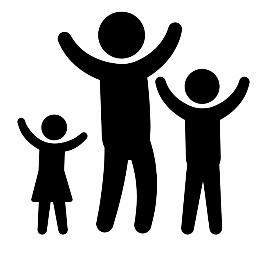 Father With Children Raising Arms Comments Children Vector Icon