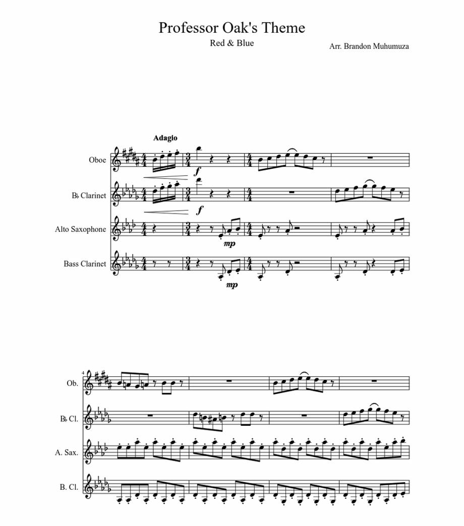 Professor Oak's Theme Sheet Music For Clarinet, Oboe
