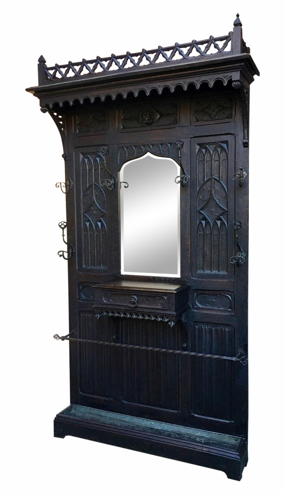 Antique French Gothic Carved Oak Hall Tree Mirror Renaissance Home Door Transparent Png Download 4226016 Vippng
