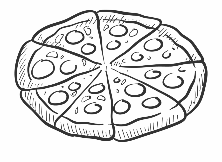 Pizza Clipart Black And White - Kebab Black And White ...