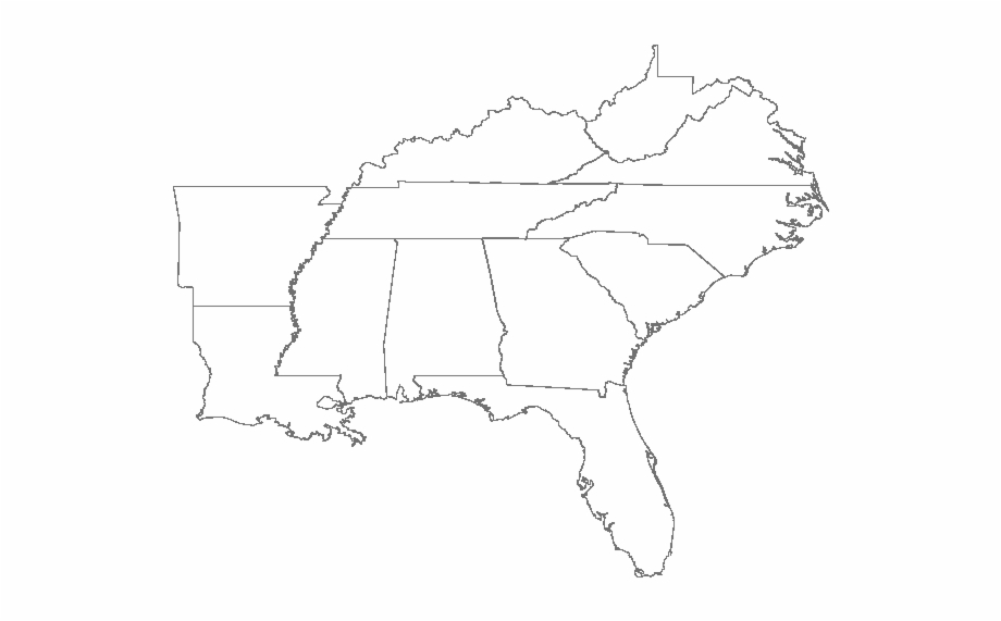 Us Southeast Map Blank Southeast States Map Blank