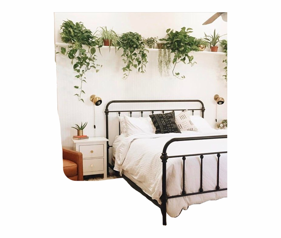Cute Room Bed Bedroom Plant Plants Tumblr Aesthetic White Rooms Transparent Png Download 4374497 Vippng