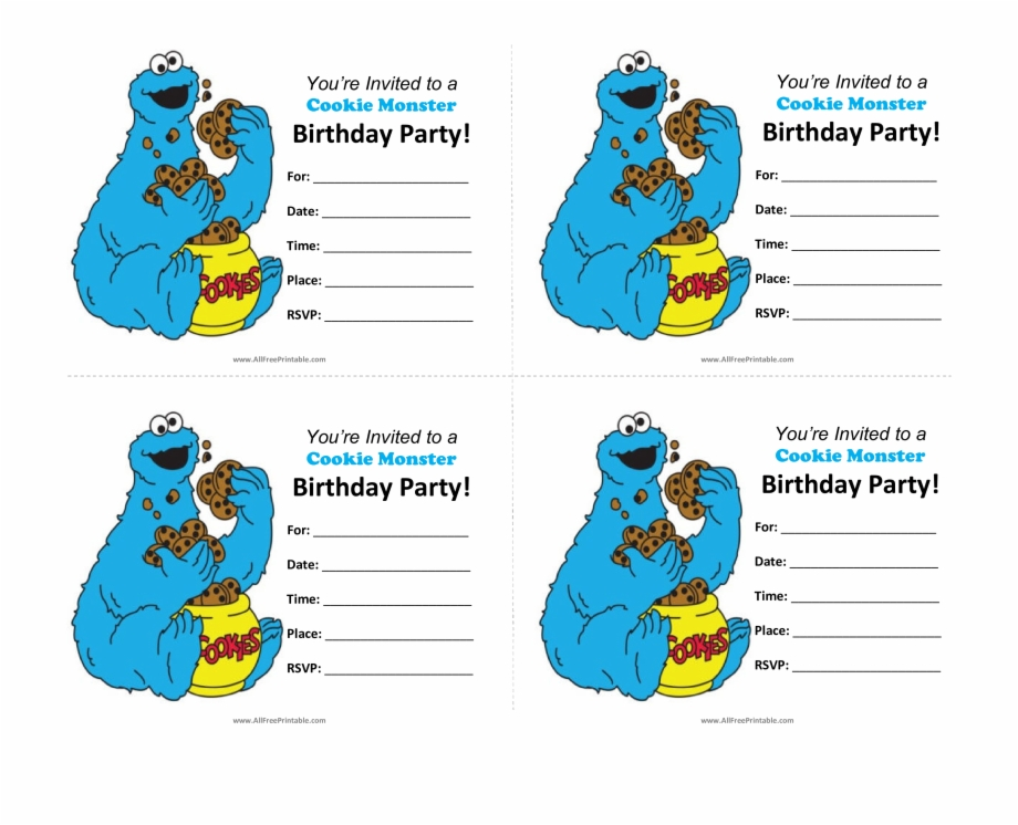 Cookie Monster Birthday Invitations Main Image Free Cookie